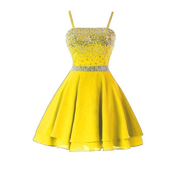 Icy Sun Women's A Line Chiffon Homecoming Dresses Strap Short Prom... ($65) ❤ liked on Polyvore featuring dresses, gowns, prom dresses, a line prom dresses, short yellow dress, yellow evening gown and chiffon prom dresses
