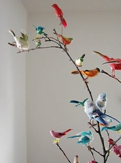 Illustrates birds on branches. It will not be this dense, however. At certain well lit focal points. And on chandelier.