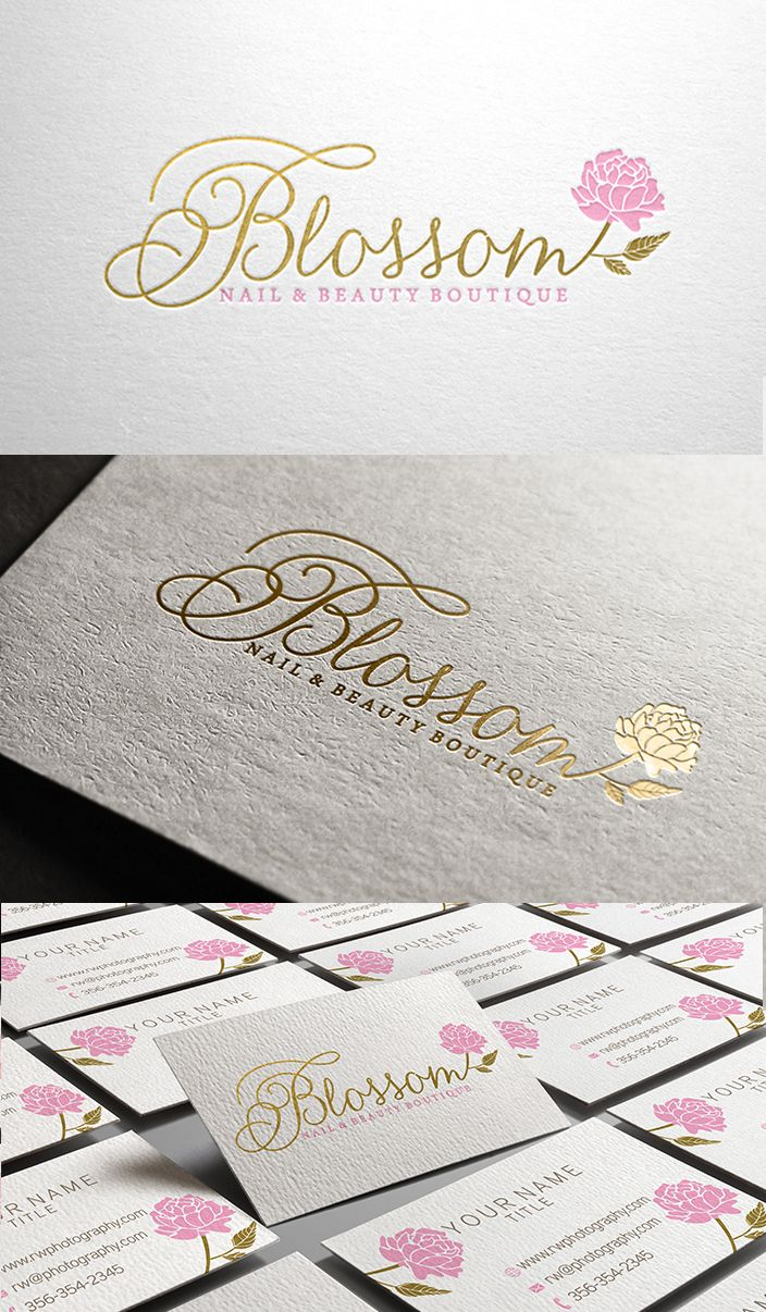 Amazing logo for Blossom Nail & Beauty Boutique, gold foil logo with a peony flower