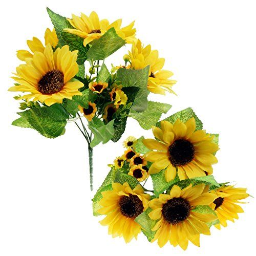 Wonderful Bilipala Artificial Sunflower Flowers Bouquet For Home Decoration And  Wedding Decor, 2 Bunches