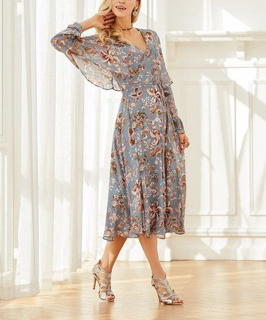 Another great find on #zulily! Denim Blue Floral Chiffon Surplice Dress - Plus Too #zulilyfinds