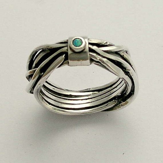 Sterling+silver+gemstone+ring+with+blue+opal++Your+by+artisanlook,+$88.00