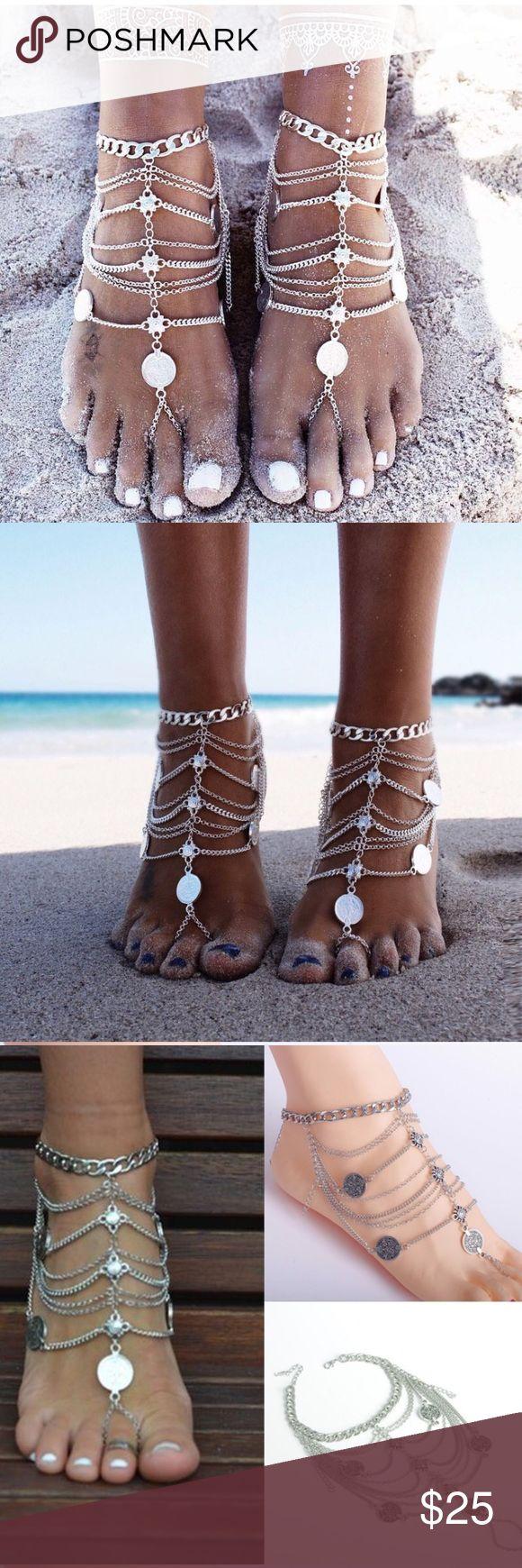 🌟 NEW🌟 Ankle chain foot jewelry silver boho 2017 Sandalia Feminina 2pcs Boho Anklet For Women Leg Bracelet Feet Jewelry Barefoot Sandals Retro Ankle Chain Foot Jewellery Jewelry