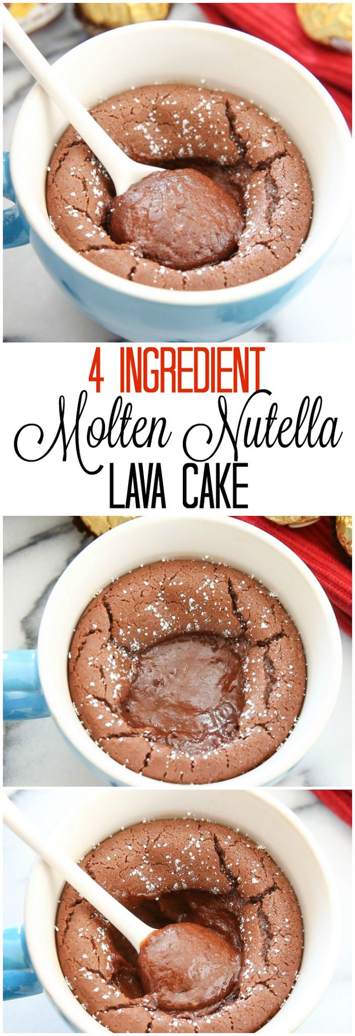 4 Ingredient Molten Nutella Lava Mug Cake. So easy and eggless!
