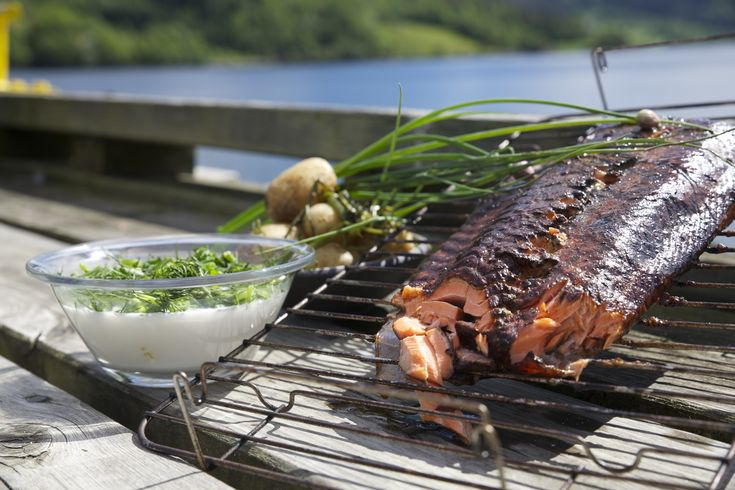 Main course Serves 4 PREPARATION: 1 Rub the trout fillet lightly with salt and pepper. Sprinkle the alder wood chips on the bottom of the smoker. Light the burner and put the grid in place. Place the fish in the smoker with the skin side down and put the lid on. Smoke the fish for…