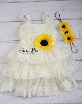 Rustic Sunflower Flower Girl Dress-Sunflower Sash and Headband Lace Flower Girl Dress-Cowboy Girl Outfit.Flower Girl Gift by SuriPieCreations on Etsy https://www.etsy.com/listing/490336408/rustic-sunflower-flower-girl-dress