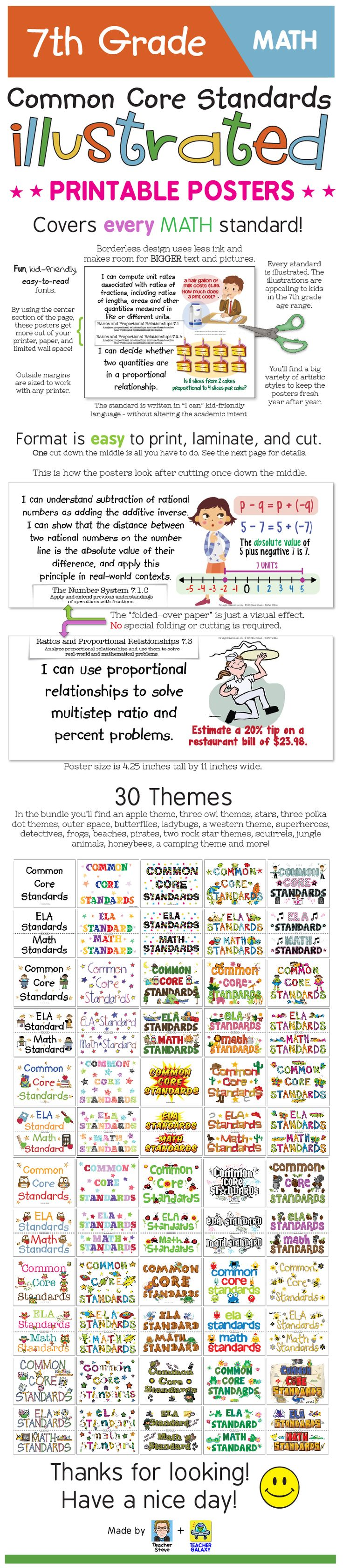"Common Core Standards posters for 7th grade math. These posters bring the standard to life and make it easier to understand with age-appropriate illustrations and kid-friendly ""I can"" language. They also have a unique borderless design that will get the most out of your wall space and printer ink. Big, colorful, age-appropriate posters for the seventh grade ELA common core! I had a lot of fun making these. I hope you like 'em! $"