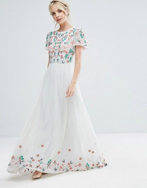 Frock And Frill Petite Premium Floral Embellished Top Maxi Dress