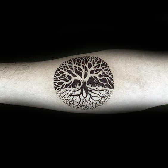 Negative Space Guys Small Circle Tree Of Life Tattoo Design On Inenr Forearm