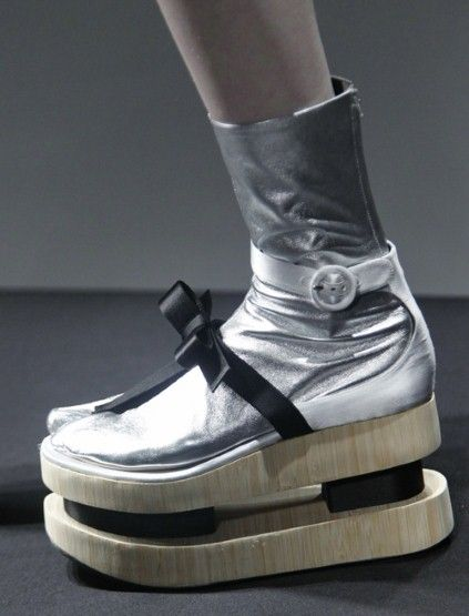 Space-age - Prada sandals emulate the platform boots - designed by Kansai Yamamoto - spring 2013