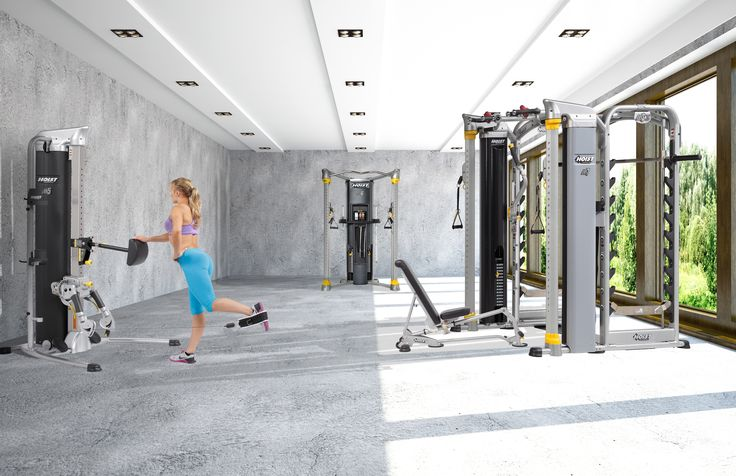 HOIST Fitness consumer and light commercial products in a home gym featuring the Mi5, Mi6, Mi7Smith and HF-5167
