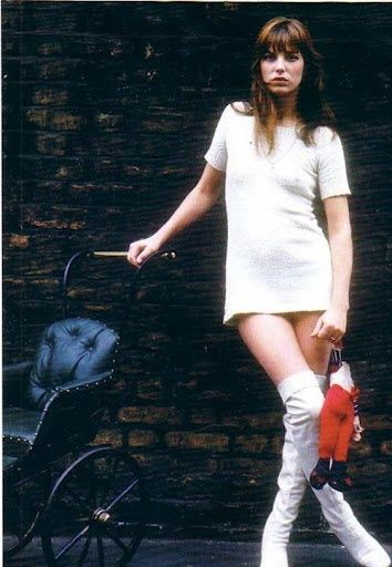 Jane Birkin love the shift. love the boots. takes a serious gamine to make such an outfit look sassy and chic