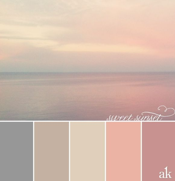 color palettes | sunset-inspired color palette // gray, taupe, peachy-pink, pink