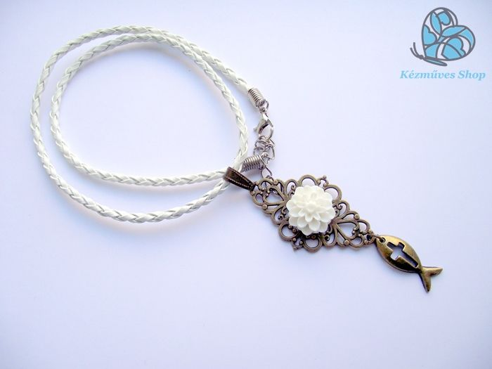 Christian leather necklace, white resin flower on antique bronz pendant with an antique bronz ichthus ( Jesus fish ) charm. 1590 HUf ( approx. 6.30 USD ) If interested, email me: info@kezmuvesshop.com