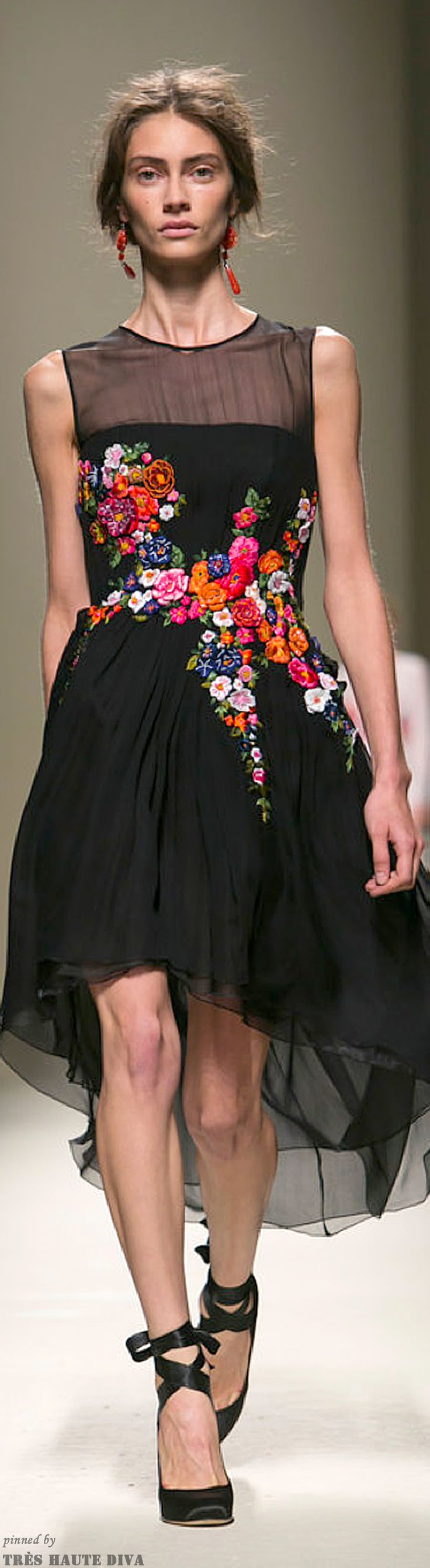 Love, love the colorful floral embroidery on black. (Alberta Ferretti | Spring/Summer 2014 RTW)