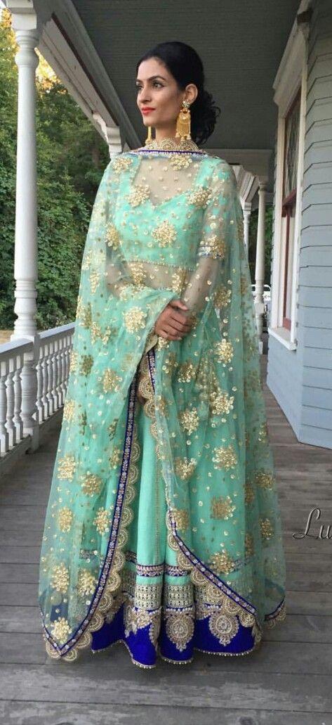 Absolutely breath taking mint and blue lehenga! So beautiful love the gold details as well! #lehenga #punjabi #bridal #indian #indianwear #indianfashion #glam #dupatta #desi #indianbride #punjabibride