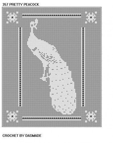 PEACOCK TABLECLOTH DOILY FILET CROCHET PATTERN #357 | CROCHETBYDASMADE - Patterns on ArtFire