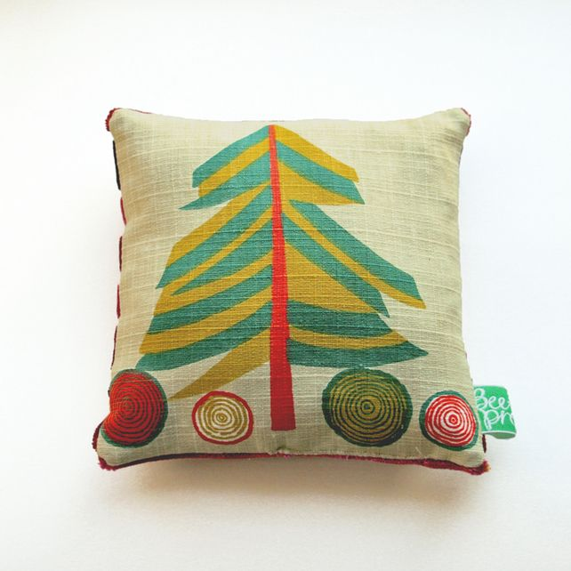 Vintage print children's room, decoration, christmas tree, mini sized cushion £12.00