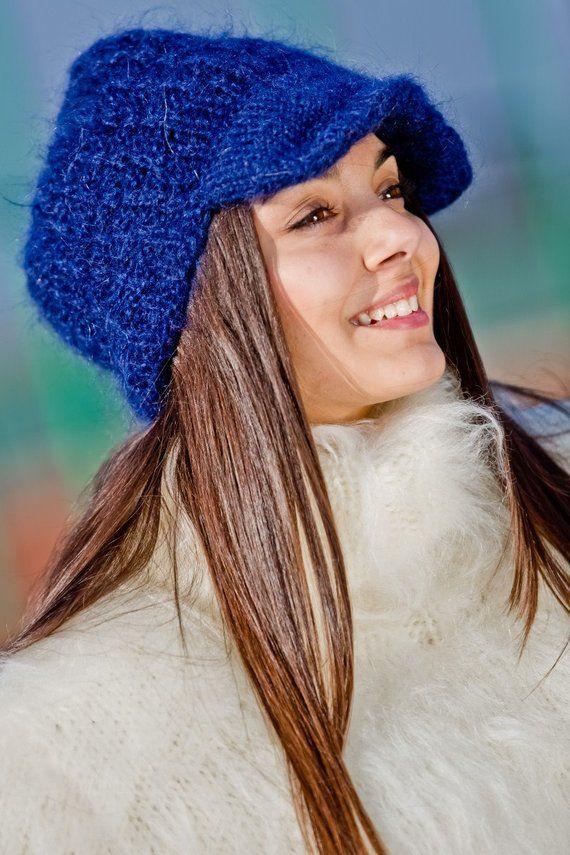 5ecd576407d6f Blue Mohair Hat Hand Knit Cap Fluffy Mohair Beanie Winter