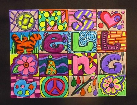 Name Art boxes, students spell out their names and fill in with color and design…