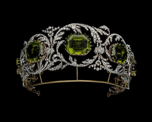 Tiara of the Archduchess Isabelle of Austria Diamonds and peridots Circa 1825 Albion Art Collection, Japan - see nearby pins for more information and alternate form with upright peridots taken from the parure's necklace. Attr Kochert