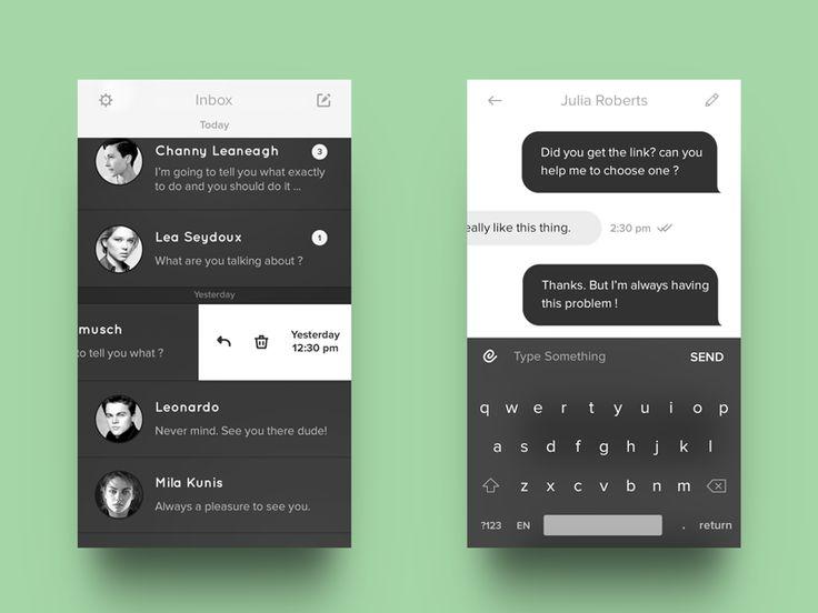 B&W Messenger App UI | Flat User Interface Design
