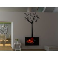 Vinilos decorativos rbol de tronco delgado con hojas for Vinilos decorativos df