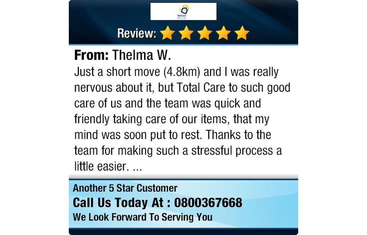 """5 Star: Thelma W. """"Just a short move (4.8km) and I was really nervous about it, but Total Care to such good care of us..."""" #housemoving #newzealand"""