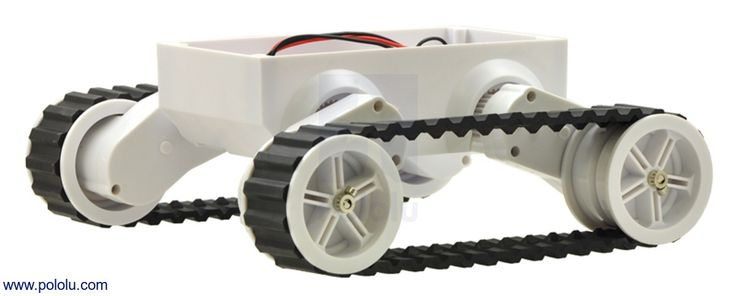 This tracked chassis from Dagu Electronics makes a great base for building a small tank-like RC vehicle or autonomous robot.  The chassis includes a battery holder and two DC motors, with an independent drive train and a quadrature encoder for each tread, so all you need to add to make a complete robot is a robot controller and the sensors of your choosing.  A unique mechanism allows you to configure the clearance of the chassis by adjusting the angle of the gearbox assemblies.