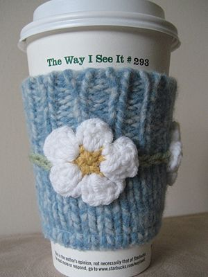Coffee cup sleeves - I couldn't really but maybe i can convince one of my knitters to! :)