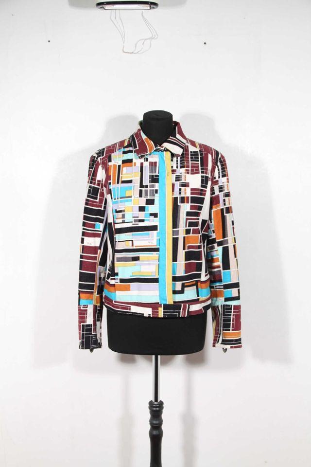 EMILIO PUCCI Italian VINTAGE Multicolor Cotton Velvet JACKET sz 8 USA