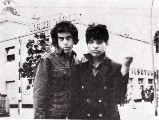 Martin Rev & Alan Vega of Suicide, synth-punk visionaries & proto-punk hooligans, in front of the Neue Welt, Berlin, on June 30th, 1978, as captured by Bob Gruen.