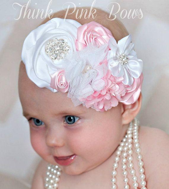 Baby headbandwhite and pink floral headband baby by - Lazos para bebes ...
