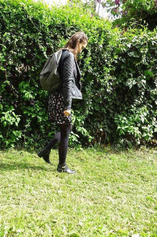 Bia Tan Blog. Biker Chick. An almost all black outfit. ootd, fashion, outfit, style, rock, how to wear, leather jacket, dress, casual outfit, floral dress, cute style, cute outfit, autumn outfit, spring outfit, rainy day outfit.
