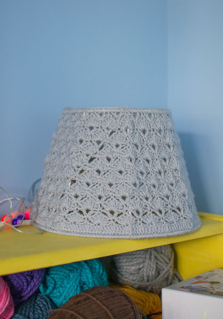 My Latest Crochet Projects - grey crocheted lampshade / crochet lampshade