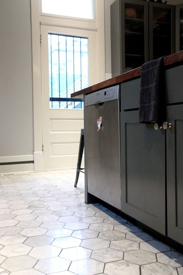 Really, really feeling this hexagon floor tile. (Big hexagons, not the tiny ones like in old bathrooms.) Kitchen tile.