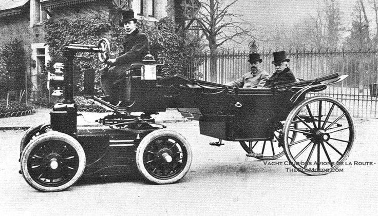 Wonderfully Odd!  Grand Duke Alexis of Russia's landau being drawn by a Heilmann electric tractor circa 1898