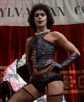Tim Curry as Dr. Frank-N-Furter from RHPS.  Totally working the bustier and stockings.