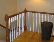 Mother in Law Apartment: Cherry railing at top of stairs