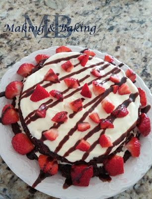 Strawberry Brownie Cake. So easy and So good! Even more Delicious the next day!