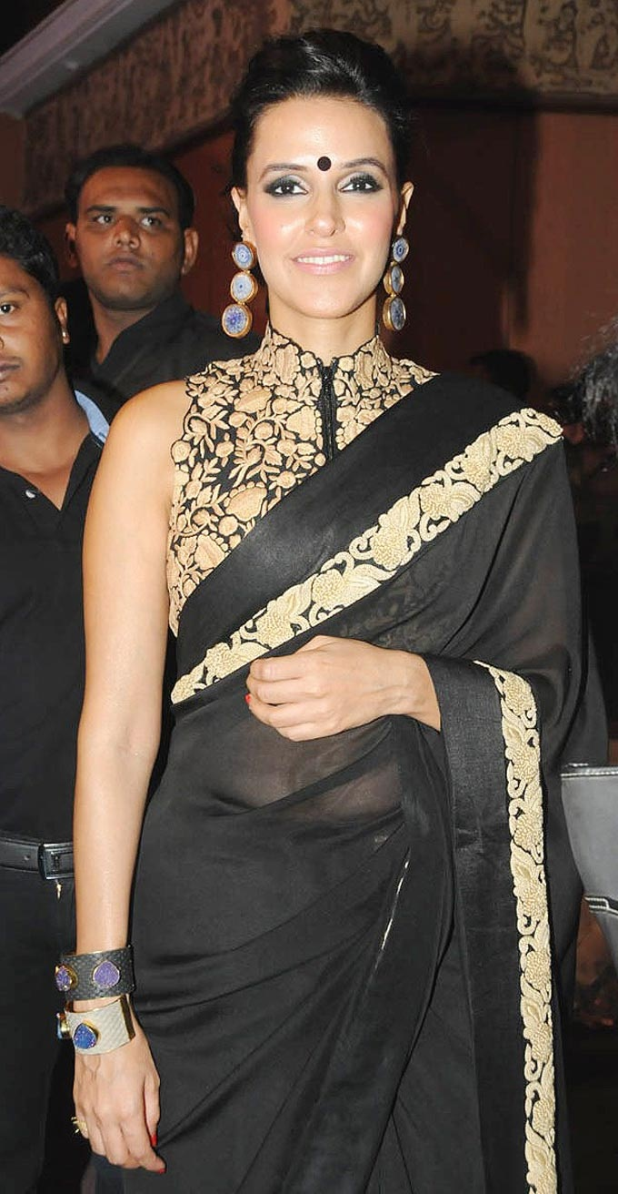 Neha Dhupia Style Saree | For More collection of #Celebrity #Saree #Collection @ www.prafful.com