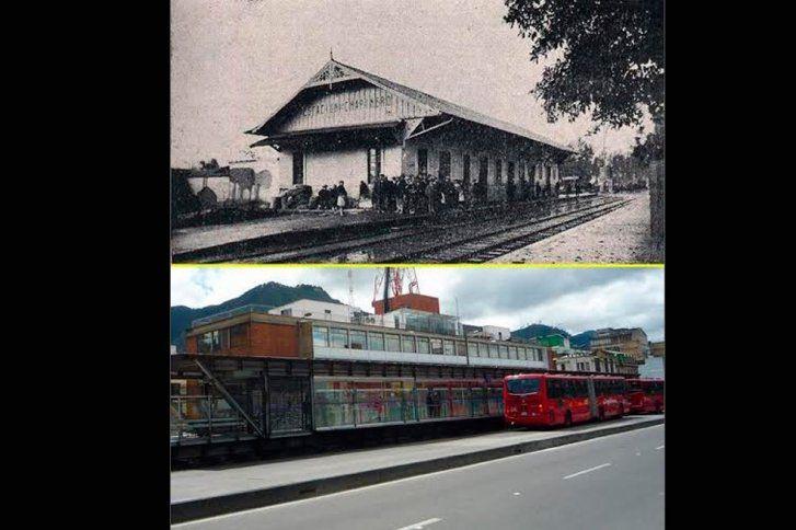 Santafé de Bogotá - En Chapinero, Estación del Tren (1920) y ahora estación de Transmilenio.