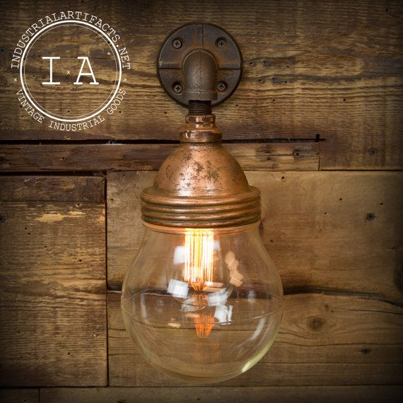 Vintage Industrial Wall Lamps : Vintage Industrial Benjamin Style Explosion Proof Sconce Glass Dome Wall Lamp Copper Shade ...