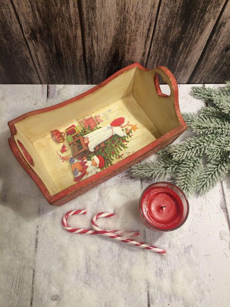 Купить Хлебница на новогодний стол - хлебница, хлебница из дерева, хлебница декупаж, красный цвет