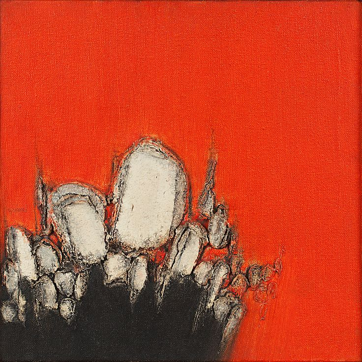 Sohan Qadri Medium: Oil, wax and plaster of paris on canvas Year: 1977 Size: 12 x 12 in.