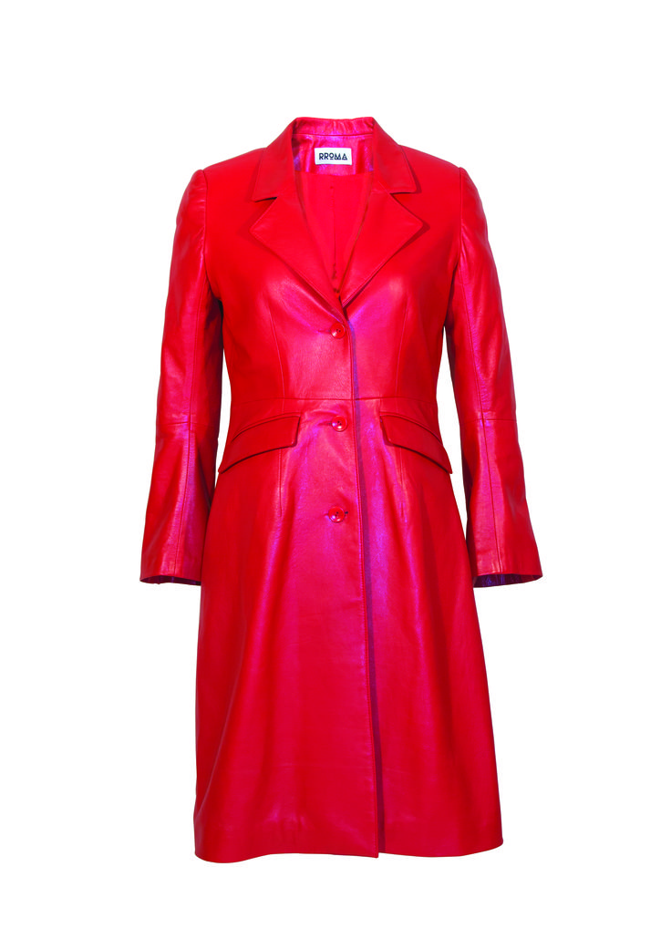 Red Lambskin Leather Coat Perfect summer outfit, Red