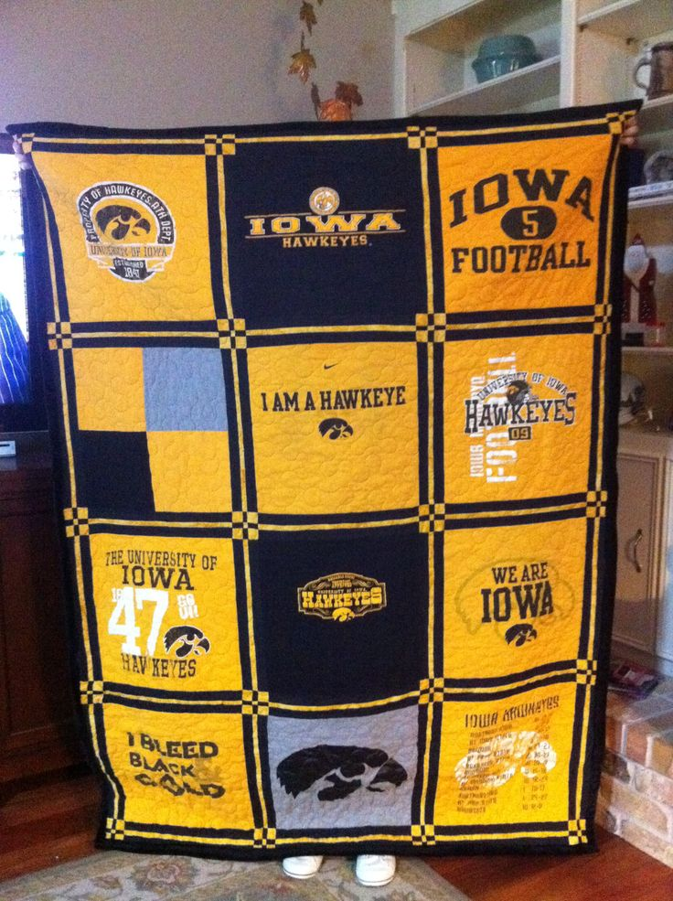 quilt made from Iowa T-shirts.