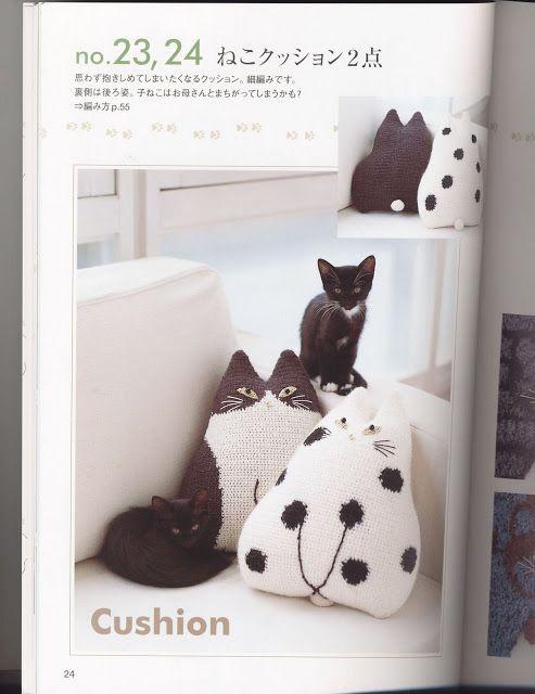 Patrón cojín en forma de gato en ganchillo para lanas y algodones