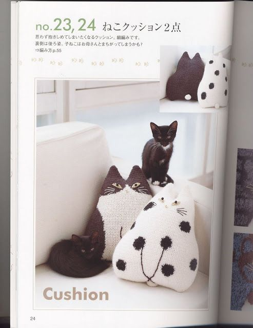 Free Crochet Cat Pillow Pattern : Patron coj?n en forma de gato en ganchillo para lanas y ...