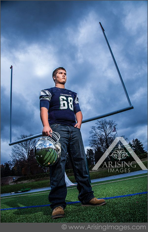 Bloomfield Hills Senior Pictures with a Football Player!